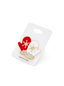 Christmas Gloves Design Brooch