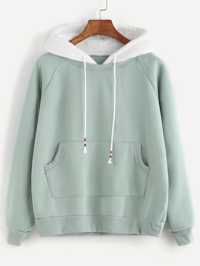 Pale Green Raglan Sleeve Pocket Sweatshirt With Contrast Hood