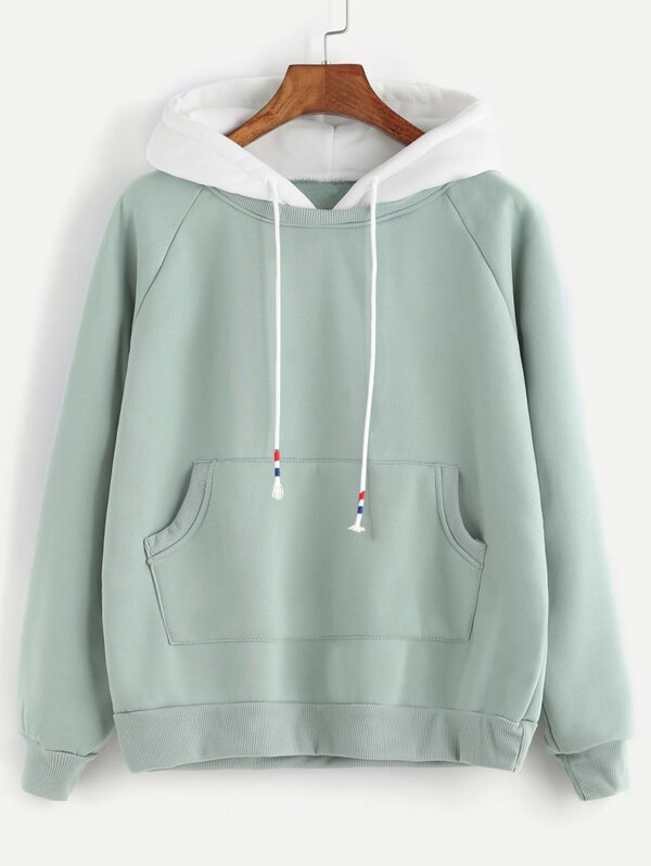 dd269b5e95f3 Pale Green Raglan Sleeve Pocket Sweatshirt With Contrast Hood