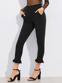 Frill Trim Tailored Cropped Pants