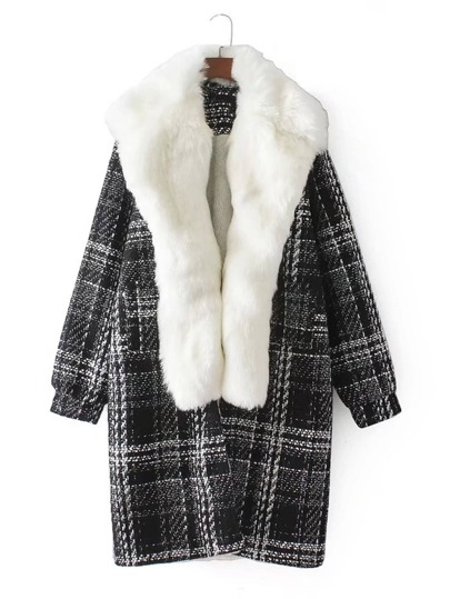 Faux Fur Collar Plaid Coat