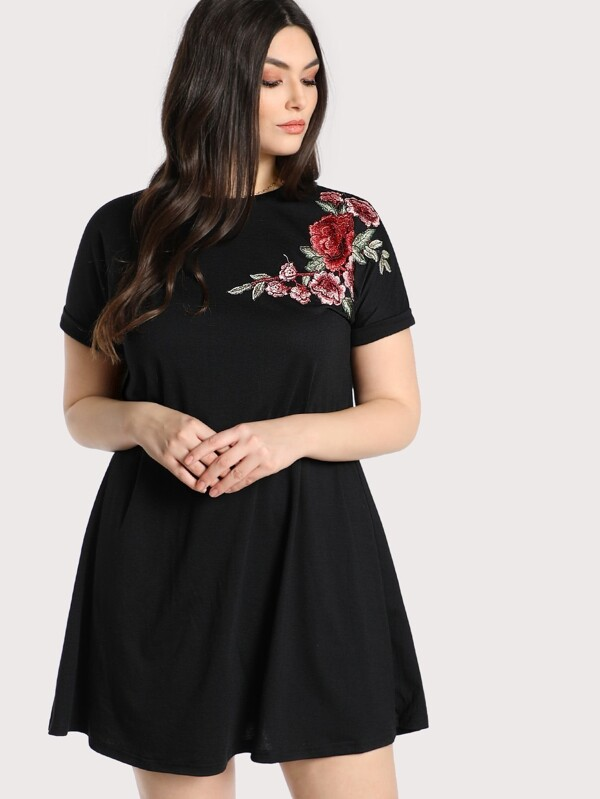 3f969608e4 Plus Embroidered Rose Patch Tee Dress | SHEIN