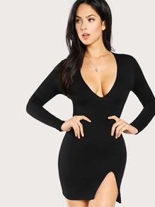 Slit Side Plunge Bodycon Dress