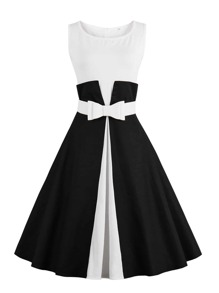 Bow Belted Combo Flare Dress