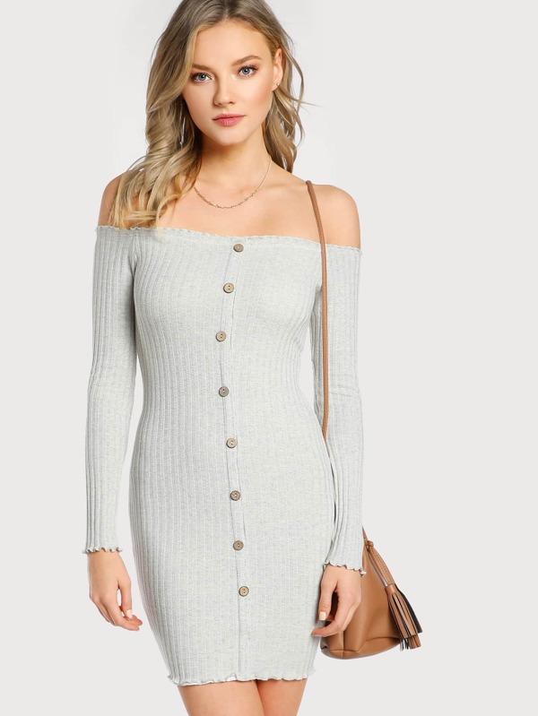 5c58bd9a4e1e Cheap Off Shoulder Long Sleeve Ribbed Lettuce Hem Dress IVORY for sale  Australia