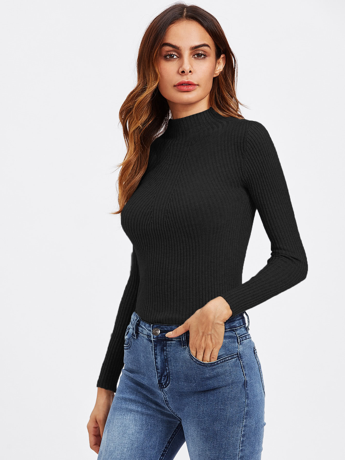 Womens Ladies Long Sleeve Polo High Roll Neck Ribbed