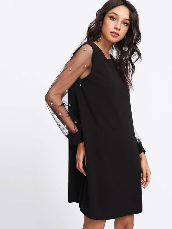 ef68a8bcb5 Pearl Beading Mesh Sleeve Tunic Dress | SHEIN