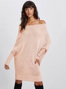 Off Shoulder Batwing Sleeve Sweater Dress
