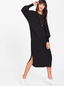 Lantern Sleeve Side Split Dress