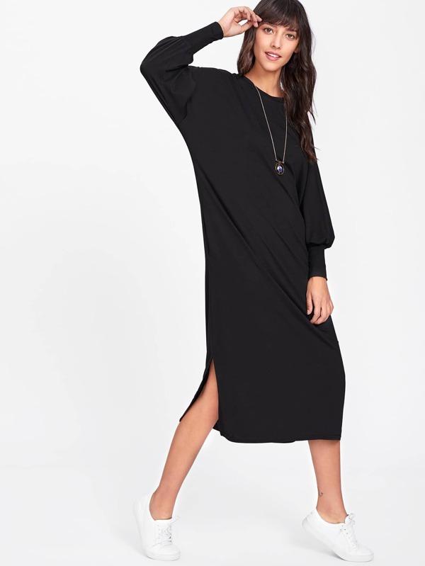 Lantern Sleeve Side Split Dress by Sheinside