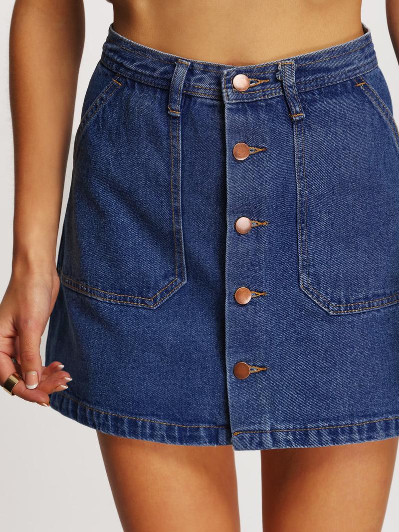 1221655545 Jupe en jean avec rangée de boutons   ROMWE