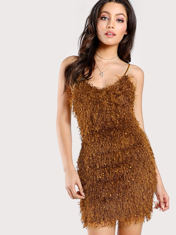 Spaghetti Strap Fringe Dress BRONZE SheInSheinside