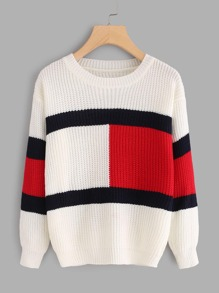 Drop Shoulder Color Block Knit Sweater
