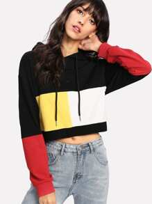 Cut And Sew Crop Hoodie
