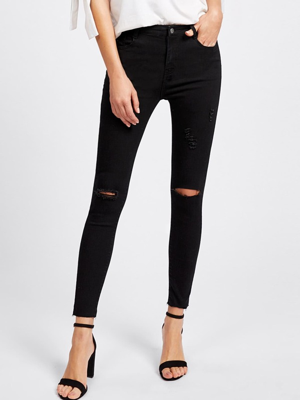 Knee Rips Raw Hem Skinny Ankle Jeans, Black, Dora