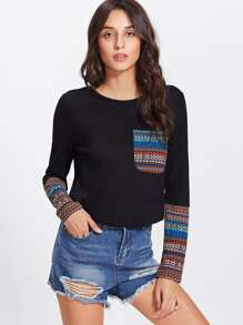 Tribal Print Pocket And Cuff Top