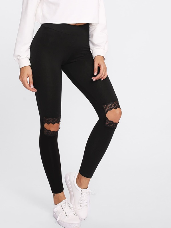 09080a00a6df Knee Cutout Embroidered Mesh Insert Leggings | SHEIN