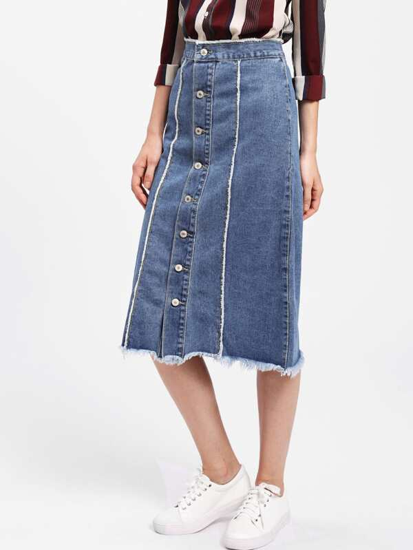 78939e97 Cheap Button Front Frayed Hem Denim Skirt for sale Australia | SHEIN