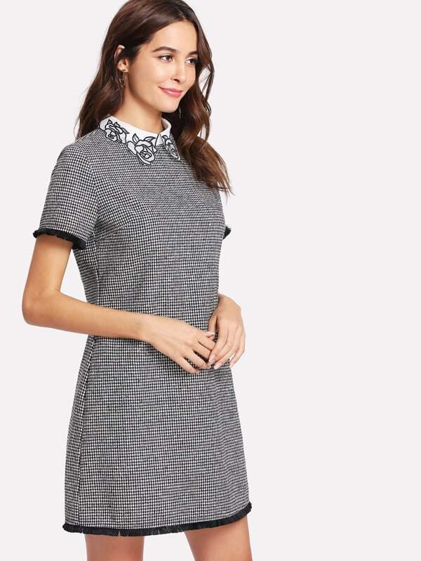 82d6fa20a6cd2 Contrast Collar Fringe Trim Houndstooth Dress