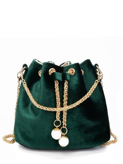 Chain Detail Velvet Bucket Bag