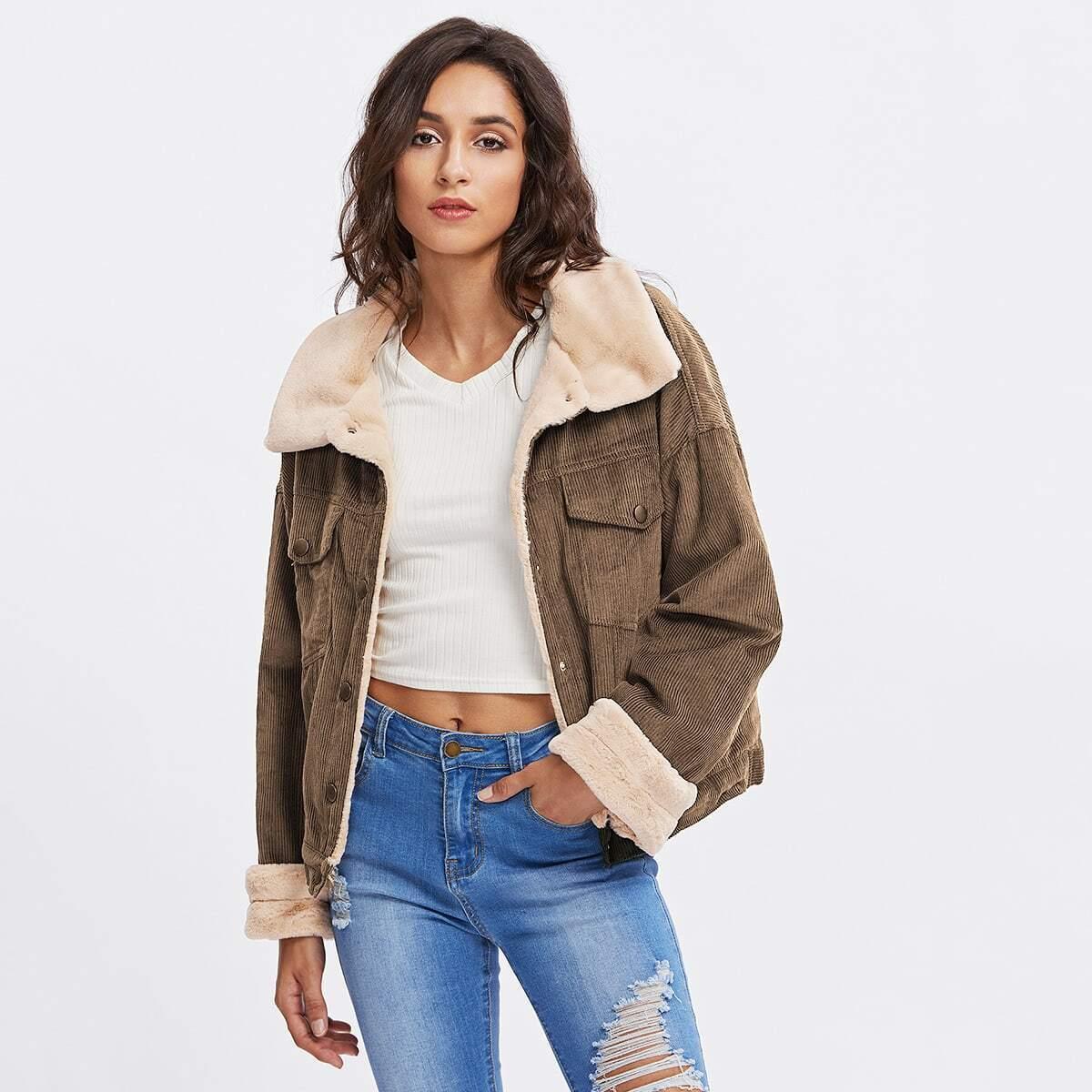 - Fleece Inside Drop Shoulder Corduroy Jacket