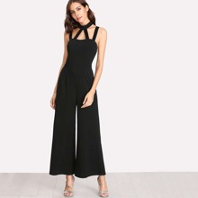 Black Party Sleeveless Plain Cut Out Fabric has some stretch Spring Jumpsuits, size features are:Sleeve Length : Sleeveless,