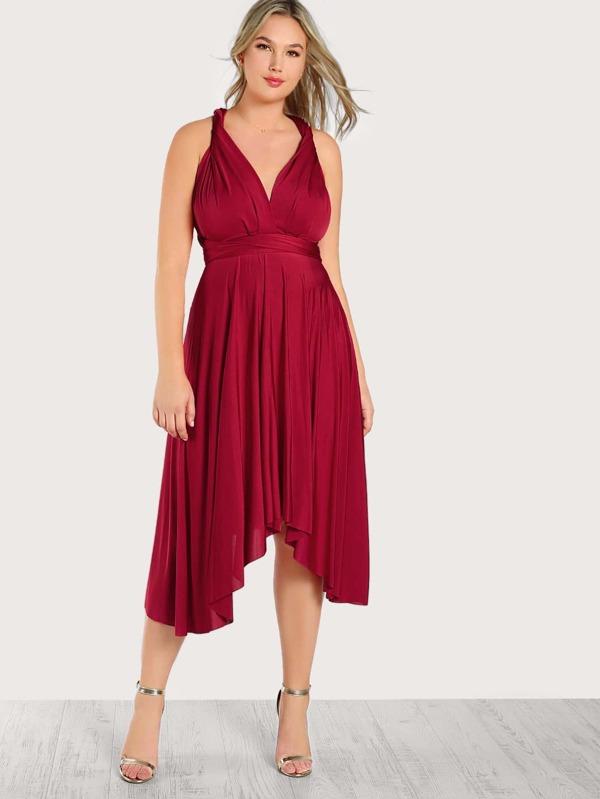 Plus Self Tie Flowy Infinity Dress | SHEIN