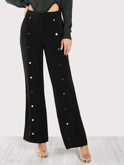 Front Gold Snap Button Pants BLACK
