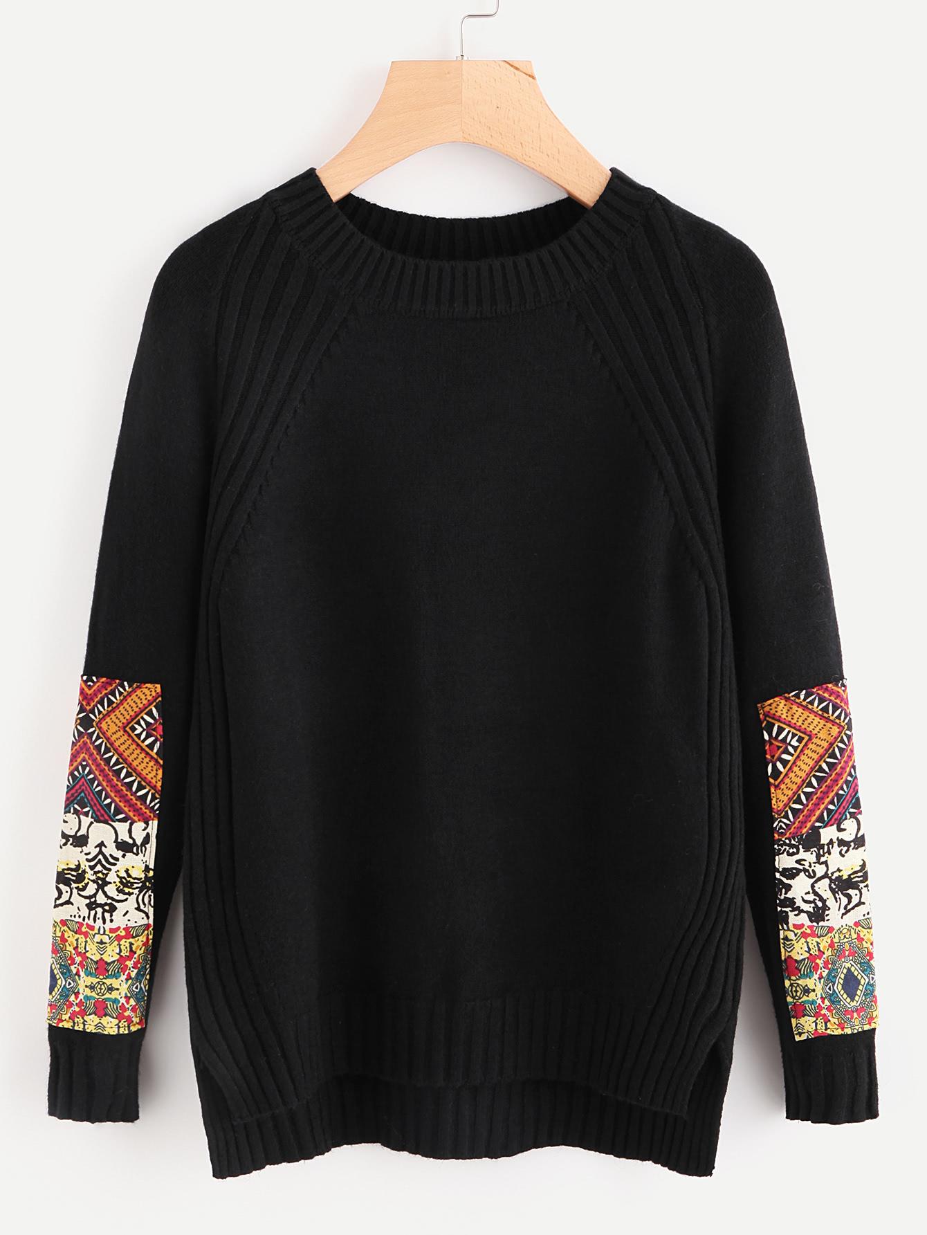 strick pullover mit flicken auf den rmeln german shein sheinside. Black Bedroom Furniture Sets. Home Design Ideas