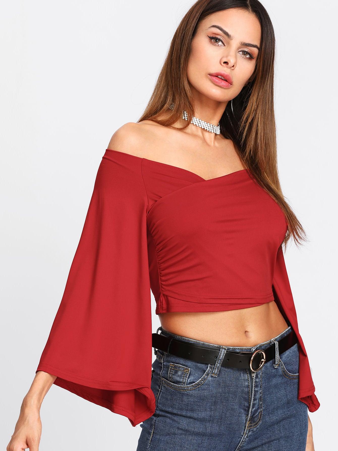 f5a1c281183a8 Off Shoulder Wrap Crop Tee EmmaCloth-Women Fast Fashion Online