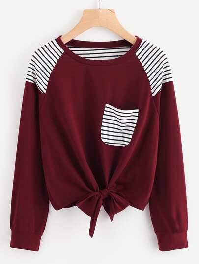 Bow Tie Front Stripe Panel Raglan Sweatshirt