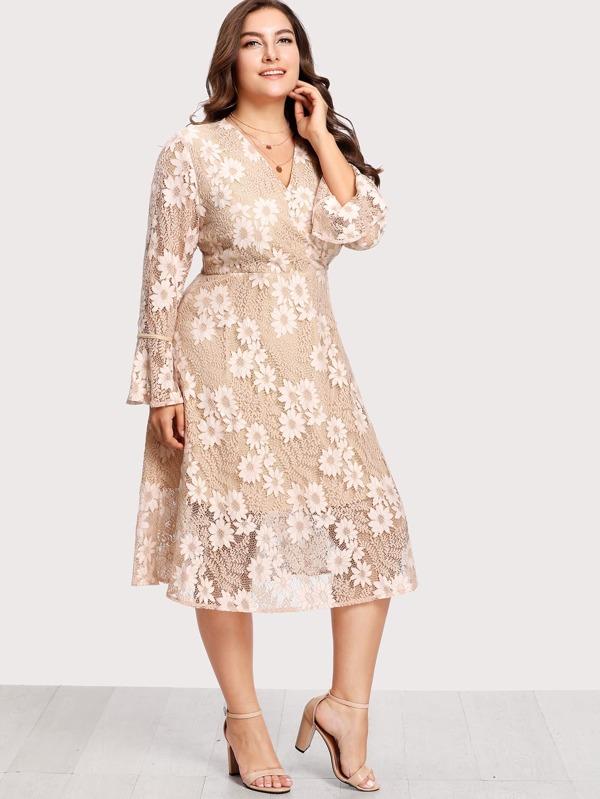 bdc087e068b Cheap Plus Flounce Sleeve Surplice Wrap Floral Lace Dress for sale  Australia
