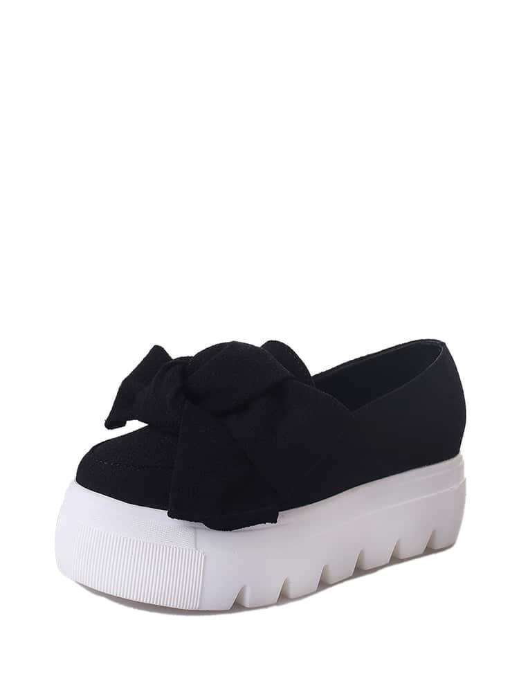 164499e6c76 Bow Tie Flatform Loafers EmmaCloth-Women Fast Fashion Online