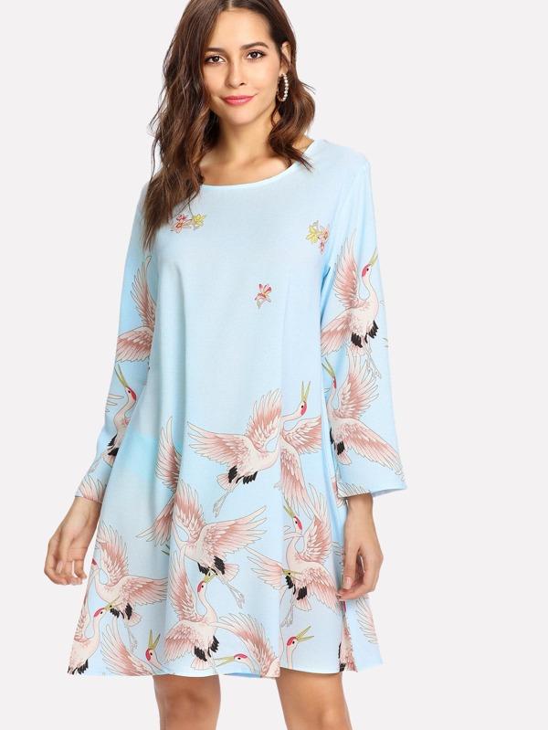 7a80f9d59e7 Crane Bird Print Tunic Dress   SHEIN UK