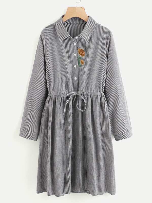 Sunflower Embroidery Drawstring Striped Shirt Dress SheInSheinside
