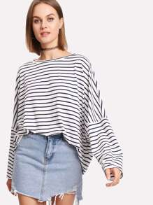 Drop Shoulder Striped Dolman T-shirt