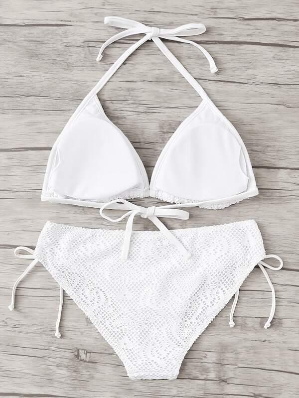 0d11cdf9bf70 Conjunto de bikini de encaje con lazo para atar