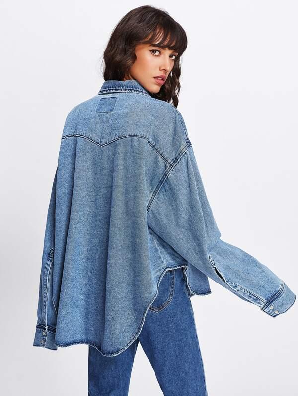 Veste Shein Oversize sheinside En Jeans French w8r8qY4f 2abadd255947