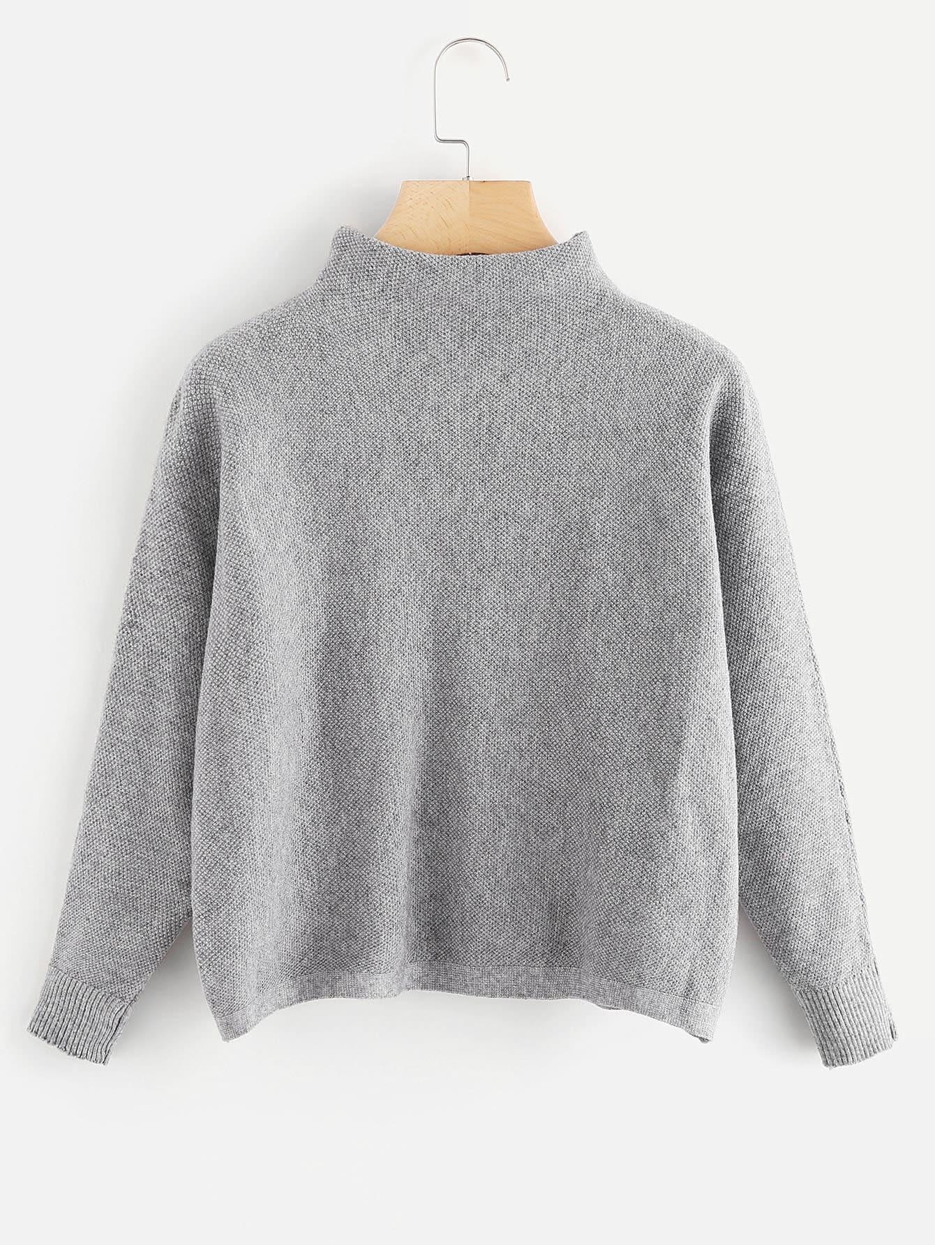 pullover mit stehkragen und streifen vorn german shein sheinside. Black Bedroom Furniture Sets. Home Design Ideas