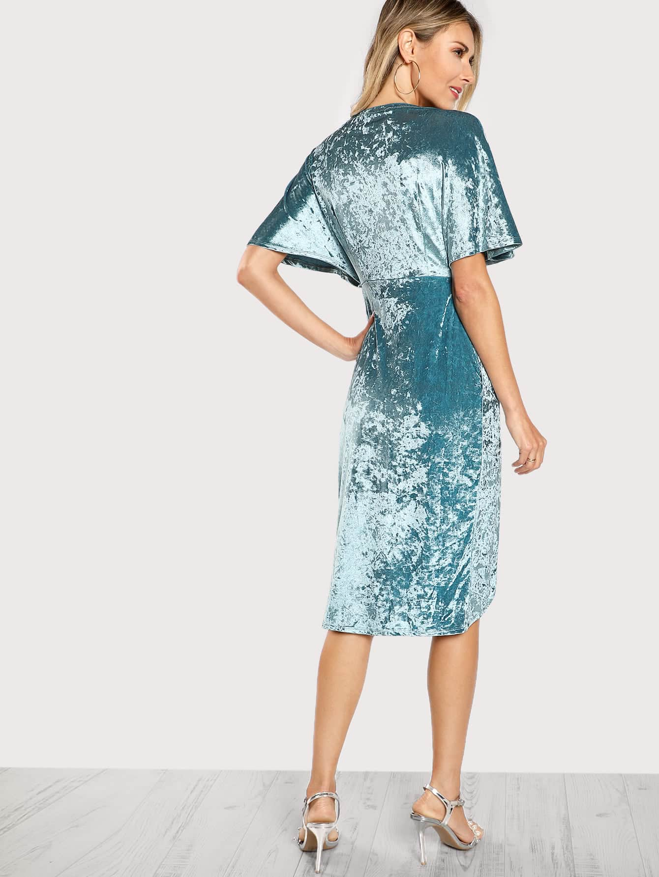 3fb0ad4d2f Cheap Dolman Sleeve Crushed Velvet Wrap Dress for sale Australia | SHEIN