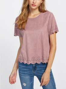 Scalloped Laser Cut Faux Suede Blouse