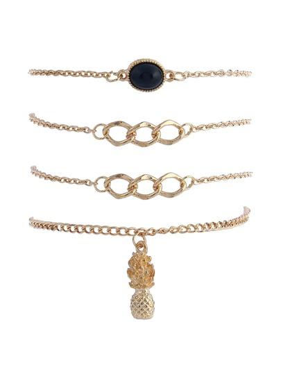 Bracelet de chaîne avec breloque de l'ananas 4 pièces