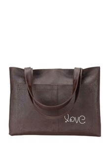 Double Pocket Front PU Tote Bag
