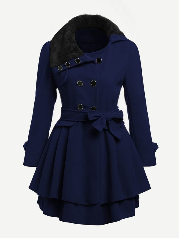 Contrast Faux Fur Collar Double Layered Hem Coat, Navy