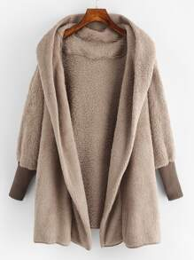 Hooded Open Front Fluffy Teddy Coat