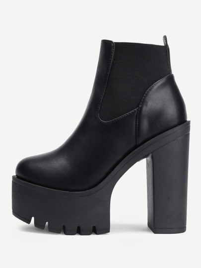 Round Toe Platform PU Ankle Boots