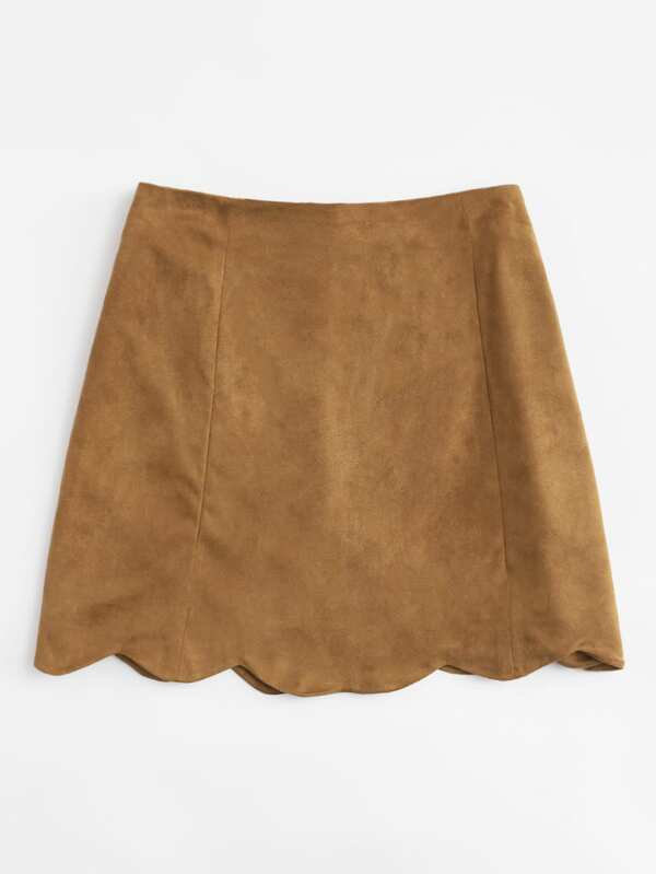 766a24298b Scallop Hem Single Breasted Suede Skirt | SHEIN
