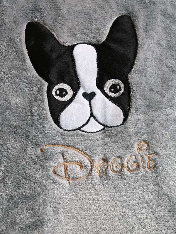 Boston Terrier Embroidered Plush Pajama Set  d39584925