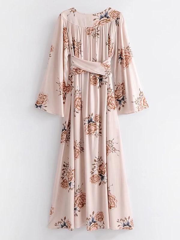 c3c8d414a1479f Self Tie Floral Kimono Maxi Dress   SHEIN UK