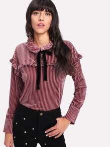 Frill Trim Tie Neck Velvet Blouse